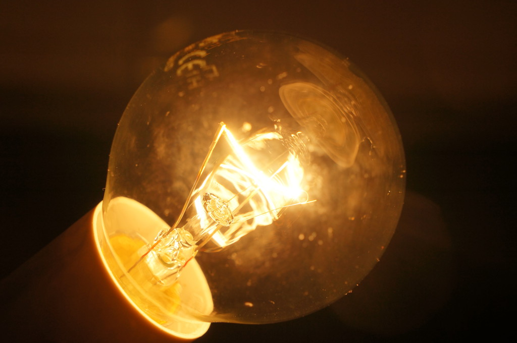 Tungsten filament in an incandescent light