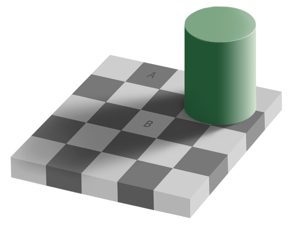 Source: http://en.wikipedia.org/wiki/Checker_shadow_illusion