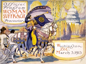 Source: http://en.wikipedia.org/wiki/File:Official_program_-_Woman_suffrage_procession_March_3,_1913_-_crop.jpg