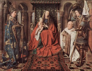 Madonna and Child with Canon Joris van der Paele by Jan van Eyck, 1436.