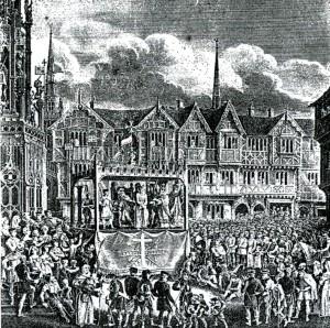 English Pageant wagon. ca. 1375-1550 AD